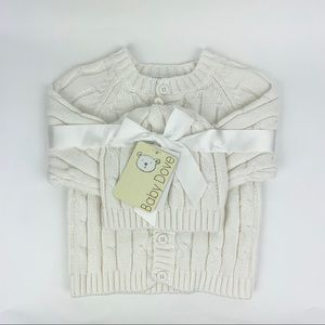 Infant cable knit sweater and matching hat. Unisex